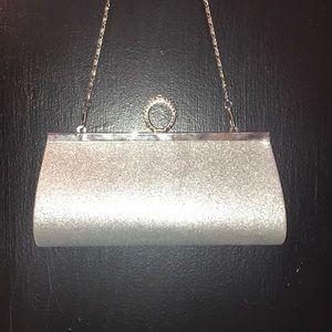 Handbags - Silver glitter clutch